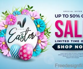 Easter sale with discount design vector 02