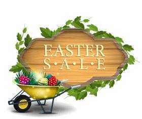 Easter sale wooden sign vectors 06