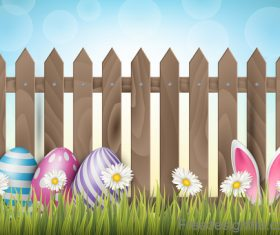 Easter spring background with wooden fence vector 01