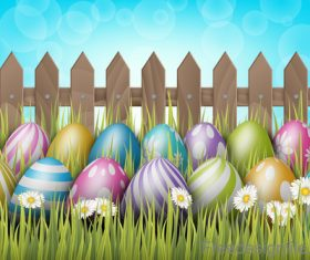Easter spring background with wooden fence vector 02