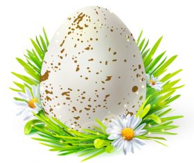 Easter spring flower with egg vector material 01