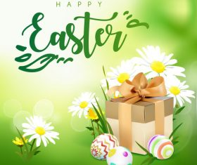 Easter spring flower with gift boxs vector 01