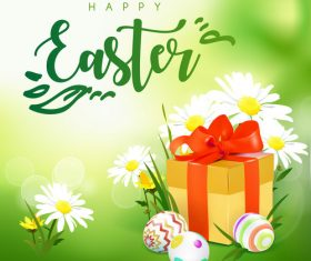 Easter spring flower with gift boxs vector 02