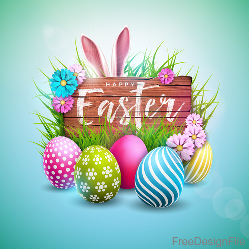 Easter wood board sign with easter egg vector