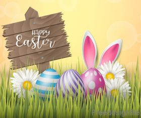 Easter wooden sign with colored egg design vector 01