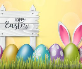 Easter wooden sign with colored egg design vector 02