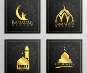 Eid mubarak cards black vector set 01
