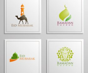 Eid mubarak cards white vector set 01