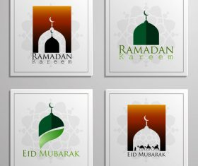 Eid mubarak cards white vector set 02
