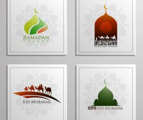 Eid mubarak cards white vector set 03