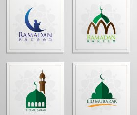 Eid mubarak cards white vector set 04