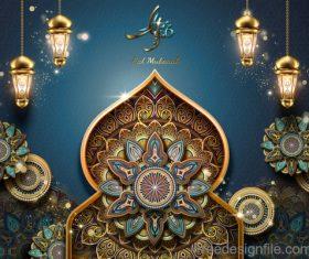 Eid mularak ornate background vector 01
