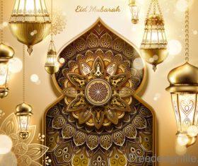 Eid mularak ornate background vector 03
