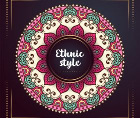 Ethnic style colored decorative background vectors 02