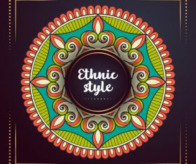 Ethnic style colored decorative background vectors 07