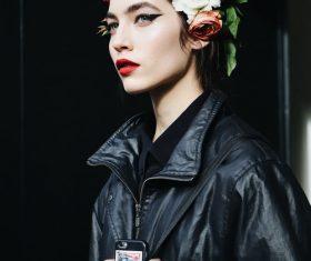 Exquisite makeup female model Stock Photo