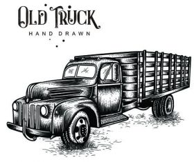 Farm Truck hand drawn vector