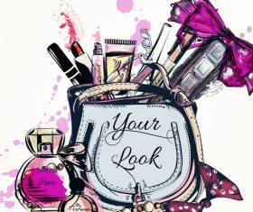 Fashion cosmetics hand drawn background vector 01