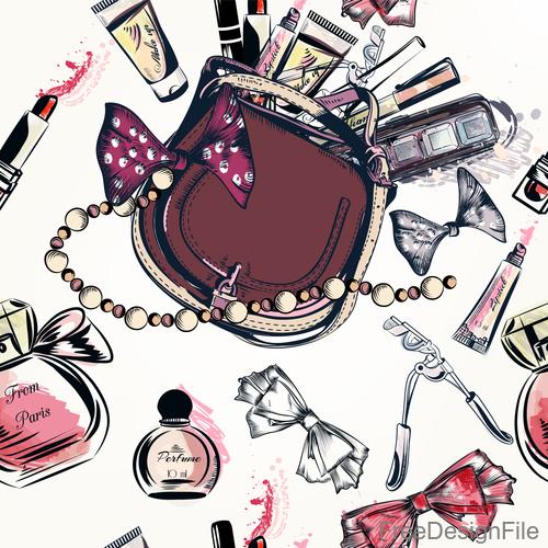 Fashion cosmetics hand drawn background vector 02