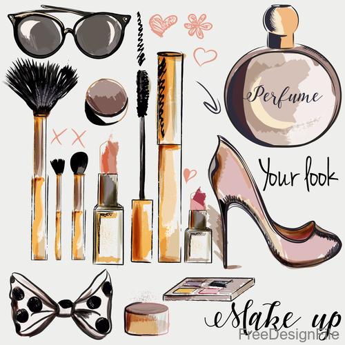 Fashion cosmetics hand drawn background vector 04