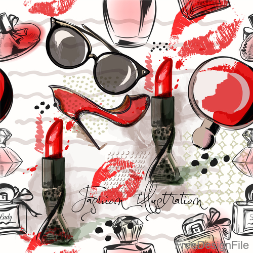 Fashion cosmetics hand drawn background vector 05