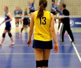 Female volleyball player back shadow Stock Photo