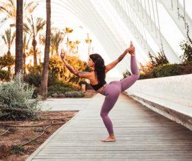 Fitness woman doing yoga Stock Photo