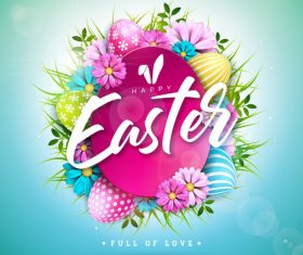 Flower with easter card template vector 01