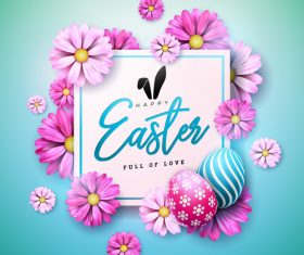 Flower with easter card template vector 02