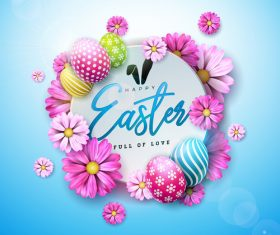 Flower with easter card template vector 03