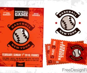 Football game ticket and flyer template vector 01