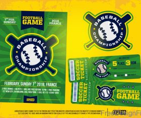 Football game ticket and flyer template vector 02