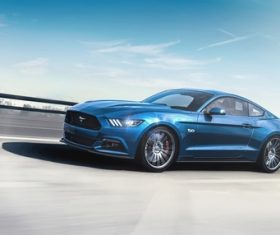 Ford Mustang blue cars Stock Photo