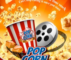 Fresh popcorn flyer template vector