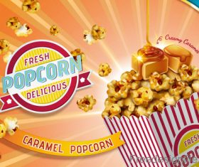 Fresh popcorn poster design vector 01