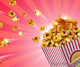 Fresh popcorn poster design vector 03