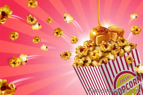 Fresh popcorn poster design vector 03