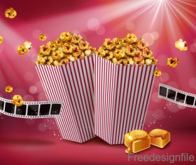Fresh popcorn poster design vector 04