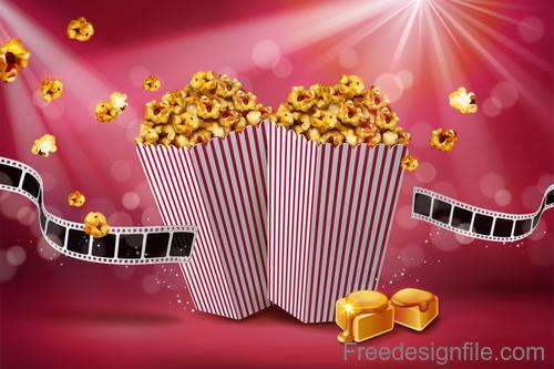 Fresh popcorn poster design vector 04