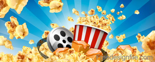 Fresh popcorn poster design vector 05