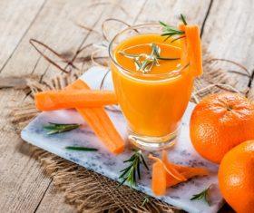 Freshly squeezed sweet orange juice and sweet orange Stock Photo