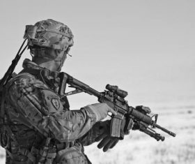 Fully armed soldier Stock Photo