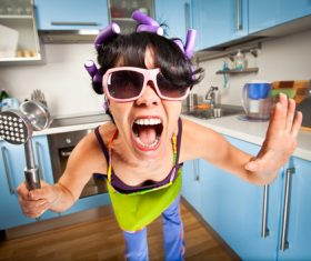 Funny Crazy Woman Stock Photo 01