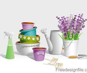 Garden tools vector illustration set