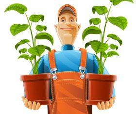Gardener and flower pot vector