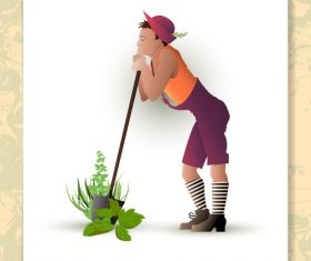 Gardener with plant vector design 01