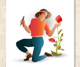 Gardener with plant vector design 02