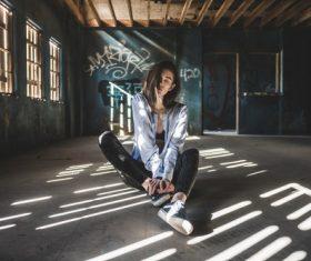 Girl posing in abandoned house Stock Photo