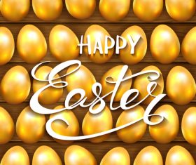 Golden Easter eggs on wooden background vector