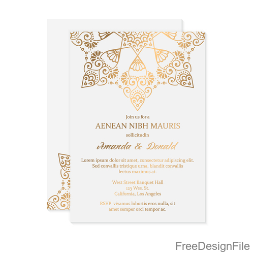 Golden Decor Ornaments With Wedding Invitation Card Template